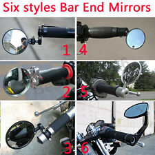 "Black Chrome Motorcycle Rearview Side Mirrors Universal 7/8"" 1"" Handle Bar Ends"