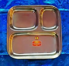3 Compartments Stainless steel -Plate/Thali for BREAKFAST,SNACKS choose *ur*QTY#