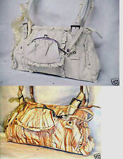 WHITE or  PALE TAN MARBLED EFFECT FAUX LEATHER FRILLED HANDBAG & MATCHING PURSE