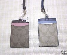 COACH Colorblock Lanyard ID Badge Card Holder Signature Khaki PINK OR BLUE 57964