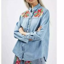 New Womens Floral Embroidered Blue Denim Jeans Blouse Tops Shirt SML
