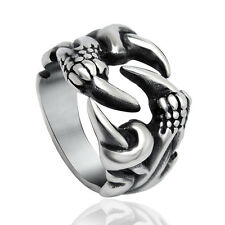 Men Gothic Punk Dragon Claw Design Ring Silver Open Finger Rings Jewelry Gifts