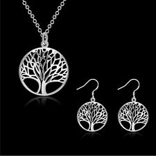 """New 925  Silver Plated Round Tree Of Life Pendant Necklace with 18"""" chain"""
