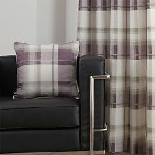 Tartan Cotton Scatter Cushion Cover with Decorative Checked Design - Plum Purple
