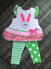 Rare Editions Easter Bunny Girls Ruffle Set 6 Months to 3T