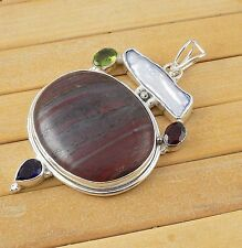 Natural Multi Gemstone Cabochon and Normal Cut 925 Sterling Silver Pendant