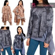 Womens Cute Tie Dye Long Top Jumper Sleeve Layered Knitted Sweater Dress UK
