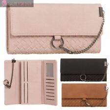 LADIES NEW CHAIN DETAIL TEXTURED FAUX LEATHER TRIFOLD PURSE WALLET