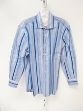 Etro Milano Blue Stripe Houndstooth Long Sleeve Button Front Dress Shirt 40