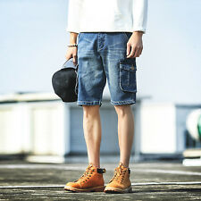 New Jeans Cotton Mens Beach Shorts Trousers Cargo Pockets Casual Five Pants Fit