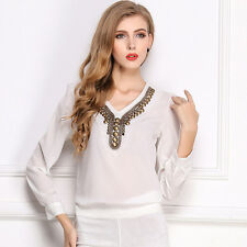 Free New Women lady Sequin V-neck pullover Long-sleeved chiffon Blouse Shirt OL