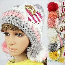 Women's Winter Ski Cap Knit Warm Hat Heart Striped Baggy Beanies Big PomPom Hats
