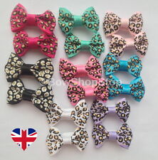 Pair of Animal Leopard Print Ribbon Various Colours Dog Hair Bow Alligator Clips