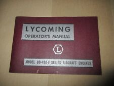 Neat! Lycoming Operator's Manual,  Model GO-480-F Series, New, Very Clean!