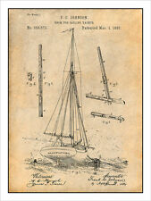 1887 Boom for Sailing Yacht, Ship, Boat Patent Print Art Drawing Poster 18X24