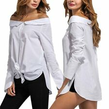 Sexy Womens Solid Blouse T-Shirt Long Sleeve Loose Off Shoulder Casual Tank Tops