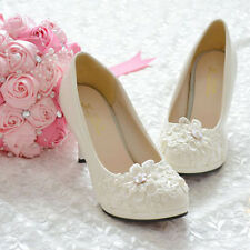 Handmade Pearl White Lace Flowers Bride Wedding Ousr High Heel Flat Fit