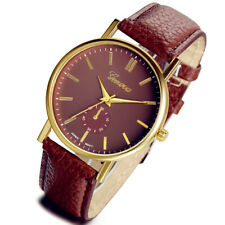 Classic Business Men's Gold Tone Dial Leather Band Quartz Analog Wrist Watch New