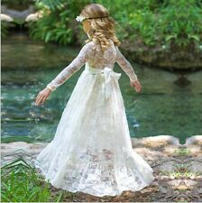 Flower Girls Dress Lace Princess Wedding Birthday First Communion 3-10 Pageant