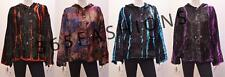 PLUS SIZE GOTHIC HIPPIE BOHO TIE DYE STRIPED VELVET HOODED JACKET 16 18 20 22