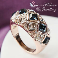 18K Rose Gold GP Made With Swarovski Crystal Luxury Diamond Shaped Sapphire Ring