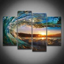 2017 Sea Waves Sunset Seascape Wall Picture Painting 4 Panels Home Decoration Fo