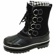 WOMENS BLACK SNOWY CREEK WINTER LACE-UP SNOW RAIN WARM LINED BOOTS SIZES 3-8