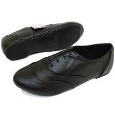 WOMENS BLACK WIDE-FIT LACE-UP OXFORD BROGUE FLAT PUMPS WORK SCHOOL SHOES 5-9
