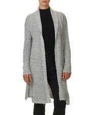 Sublevel Women's Women's Long Knit Dark Grey Melange Cardigan