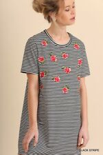 UMGEE embroidery floral stripe T-shirt Dress short sleeve Full Swing mini SML
