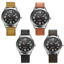 Mens Sport Watches Military Quartz Wrist Watch Stainless Steel Faux Leather Band