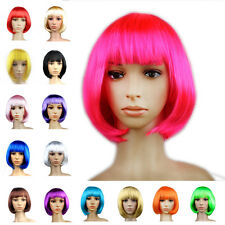 Women Bob Short Straight Hair Full Wig Cosplay Anime Party Girls Dress Up Wigs