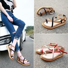 Womens Low Wedge Heel Ankle Strppy Flip Flops Flat Gladiator Sandals Thong Shoes