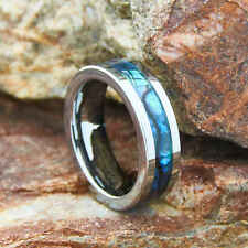 Tungsten Carbide Ring Abalone Shell Inlay Polished Wedding Engagement Band