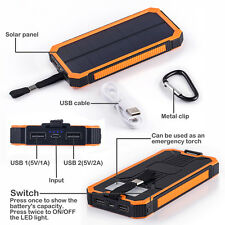 30000mAh Portable Solar Charger 2-USB Battery Power Bank For Mobile Cell Phone