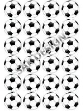 24 X Football Cup Cake Toppers on Edible Wafer Paper or Icing Sheet