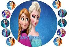7 inch Frozen Elsa and Anna Cake  and 10 cup cake topper on Edible Rice Paper