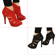 Womens Platform Pumps Peep Toe Stiletto High Heels Lady Sandals Shoes Red L6B3