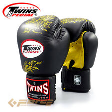 TWINS Pro Leather Gloves Muay Thai Kick Boxing Gloves MMA UFC DRAGON FBGV-6