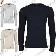 Mens Branded Plain Long Ribbed Sleeve Crew Neck Knitted Pullover Sweater Jumper