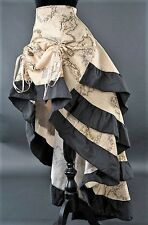 Gothic Victorian Steampunk Vintage Map Atlas World Print Bustle Ruffle Skirt