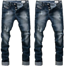 MENS NEW DIESEL RIPPED JEANS STRAIGHT LEG VINTAGE BLUE WASHED MULTIPLE SIZES