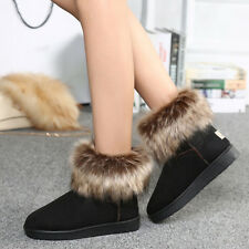 Thickened Quilted Winter Fur Lined Ladies Warm Snow Ankle Boots Casual Shoes F7