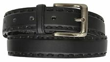 Men Genuine Full Grain Leather Casual Dress Belt Silver Tone Buckle Black Plain
