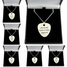 Personalised Plectrum Necklace, Engraved Guitar Pick on Sterling Silver Chain.