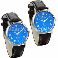 Casual Blue Dial Leather Band Womens Mens Sports Analog Quartz Wrist Watch Gift