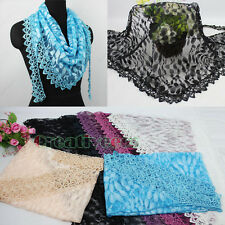 Funky Fun Lace Trim Tassel Leaf Mesh Lace Mantilla Light Weight Triangle Scarf