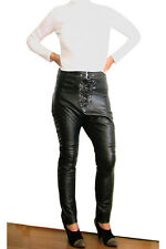 NEW ONE TEASPOON GENUINE LEATHER PANTS 26 S 4 6 $300 WOMEN BLACK HIGH WAISTED