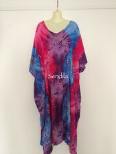 FREE SIZE TO PLUS SIZE 30 Long Kaftan Dress Sequinned Embroidered pink