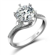 925 Sterling Silver Rings White Sapphire Birthstone Engagement Wedding Ring